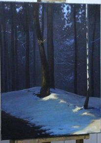 Wald, Winter, Landschaft, Malerei