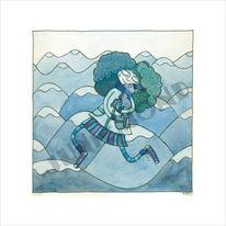 Winter, Frau, Schnee, Blau