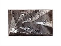 Wasser, Mädchen, Drache, Papierboot