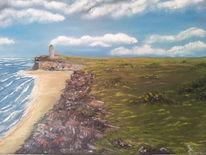 Küste, Ölmalerei, Landschaft, Felsen