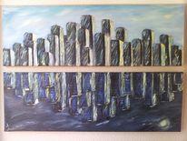 Acrylmalerei, Abstrakt skyline, Spiegelung, Malerei