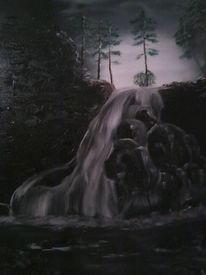 Landschaft, Wasserfall, Ölmalerei, Dunkel