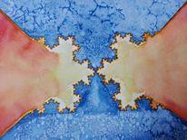 Fraktalkunst, Kristall, Schnee, Aquarellmalerei
