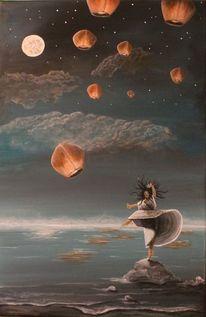 Felsen, Ballon, Stern, Wolken