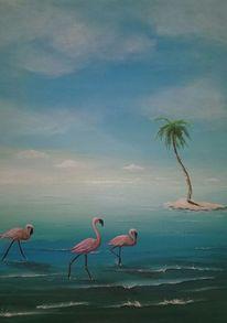 Wolken, Flamingo, Horizont, Wasser