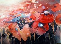 Rot, Feuer, Blumen, Aquarell