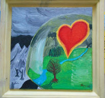 Kuppel, Herz, Gods love, Ölmalerei