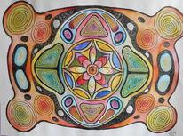 Farben, Mandala, Aquarell,