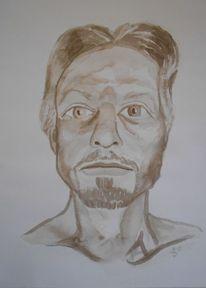Selbstportrait, Tuschmalerei, Zeichnungen,