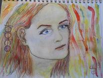 Jugendliebe, Aquarellmalerei, Tuschmalerei, Portrait