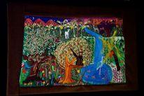 Textilkunst, Affe, Landschaft, Natur