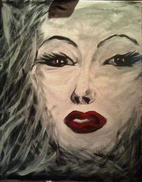 Gesicht, Frau, Schwarz weiß, Acrylmalerei