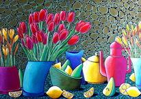 Birne, Blumen, Zitrone, Narzissen