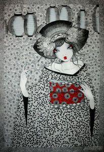 Geysha, Grafik, Frau, Malerei