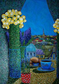 Frankreich, Café, Morgen, Blumen