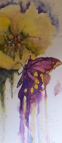 Blüte, Schmetterling, Natur, Aquarell