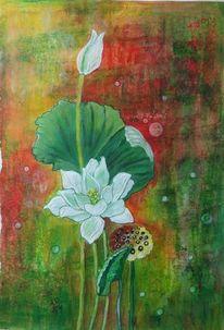 Pflanzen, Lotos, Blüte, Malerei