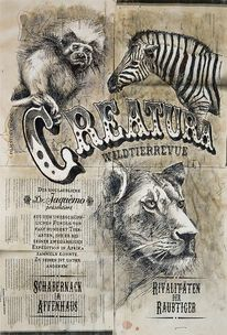 Zirkus, Tiere, Illustrationen, Architektur mensch