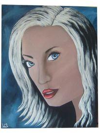Blond, Acrylmalerei, Schön, Blau