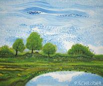 Landschaft, Kollateral, Spiegelung, Natur