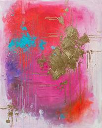 Rosa, Abstrakt, Gold, Rot