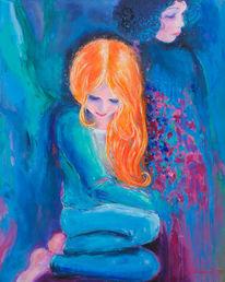 Mädel, Konflikt, Mädchen, Malerei
