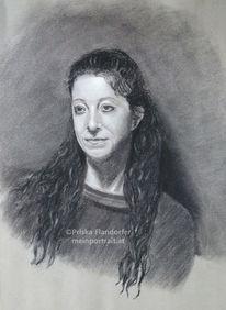 Portrait, Kohlezeichnung, Kreide, Portraitzeichnung