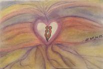 Herz, Rot, Lila, Pastellmalerei