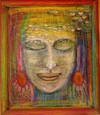 Mischtechnik, Göttin, August, Acrylmalerei