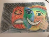 Zwei gesichter, Maske, Hölle, Erde