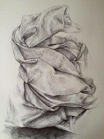 Tuch, Zeichnung, Kugelschreiber, Zeichnen