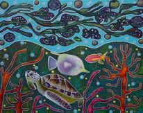 Unterwasser, Schildkröte, Fische, Malerei