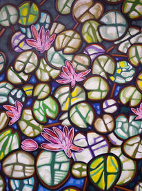 Blätter, Blüte, Seerosenteich, Malerei