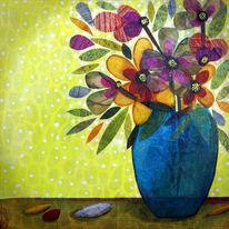 Blüte, Stillleben, Blumen, Mischtechnik