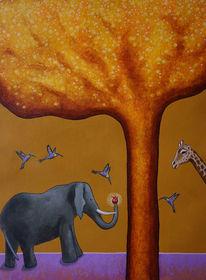 Baum, Elefant, Gold, Giraffe