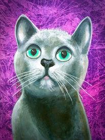 Katzenkopf, Grünauge, Katze, Malerei