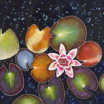 Blumen, Seerosen, Seerosenteich, Malerei