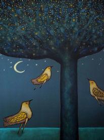Vogel, Mond, Abend, Baum