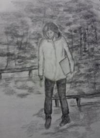 Landschaft, Mädchen, Zeichnungen