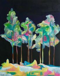 Fantasie, Baum, Nacht, Regenbogen