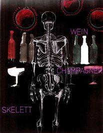 Schablone, Champagner, Skelett, Wein