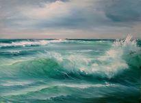 Die welle, Meerlandschaft, Ölmalerei, Malerei