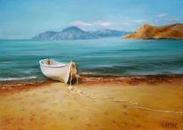 Ölmalerei, Blau, Wasser, Himmel