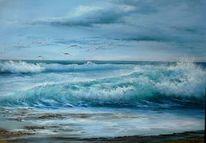 Ölmalerei, Blau, Meer, Wolken