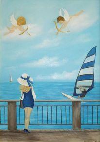 Meer, Frau, Glück, Malerei