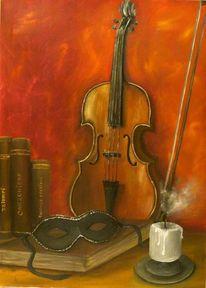 Geige, Maske, Kerzen, Malerei