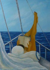 Yacht, See, Frau, Malerei