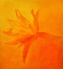 Spachteltechnik, Ölmalerei, Kakteenblüte, Gelb