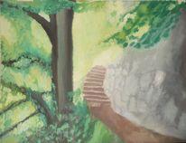 Steinmauer, Schatten, Baum, Licht