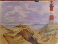 Meer, Leuchtturm, Urlaub, Zeichnungen